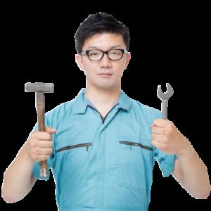 道具を持った男性